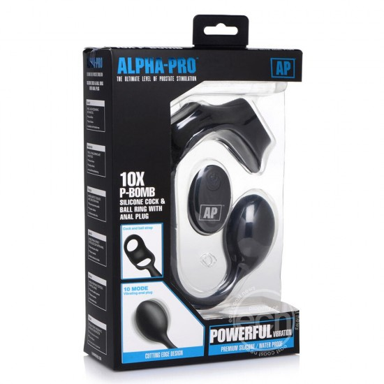 Alpha Pro 10X P Bomb Cock and Ball Ring With Anal Plug