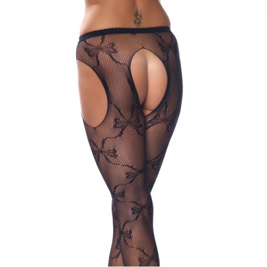 Crotchless Black Fishnet Lace Detail Tights