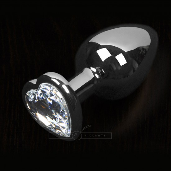 Dolce Piccante Silver Style Small Anal Plug Clear Heart Gem