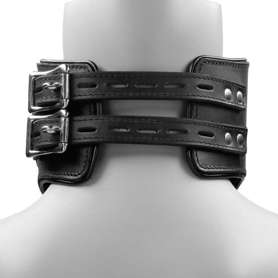 Heavy Duty Black Leather Padded Posture Collar